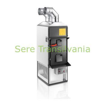 generator de aer cald pe combustibil solid cu 93KW cu ventilator exhaust pe fundal alb