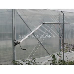 brat telescopic pentru deschiderea laterala prin roluire foliei instalat pe solar