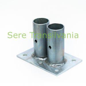 Basetă dublă pentru stâlpi diametru 60x2,5mm