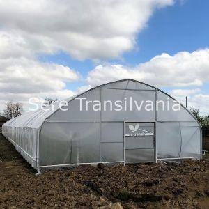 fronton de solar cu pereti verticali 10x50m cu o folie cu logo sere transilvania